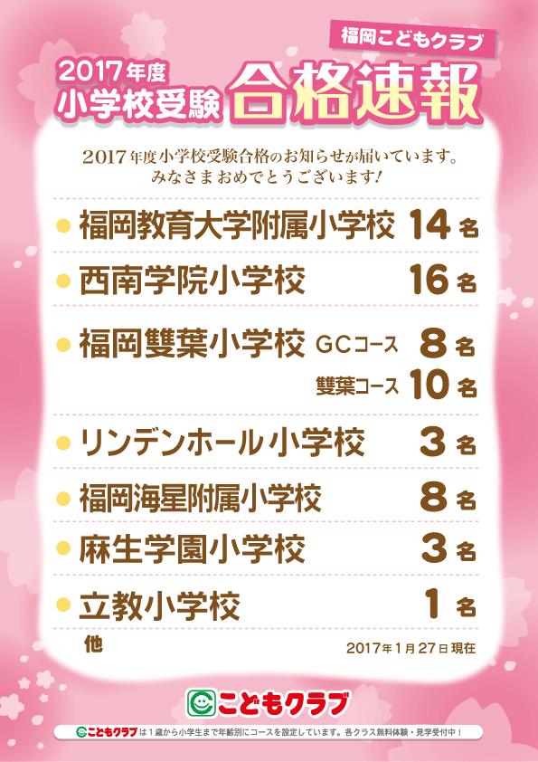 2017年度福岡教室合格速報
